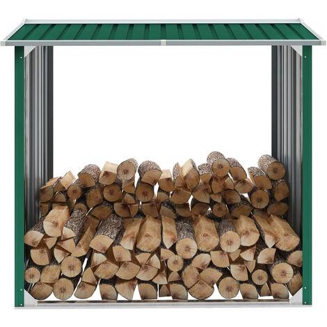 Abri de stockage de bois Acier galvanise 172x91x154 cm Vert