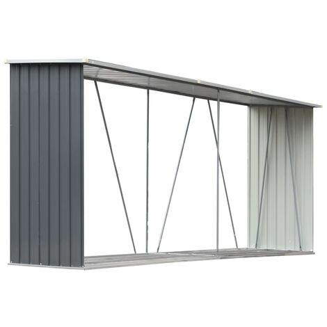 Abri de stockage de bois Acier galvanisé 330x84x152 cm Gris