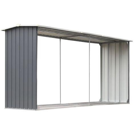 Abri de stockage de bois Acier galvanisé 330x92x153 cm Gris