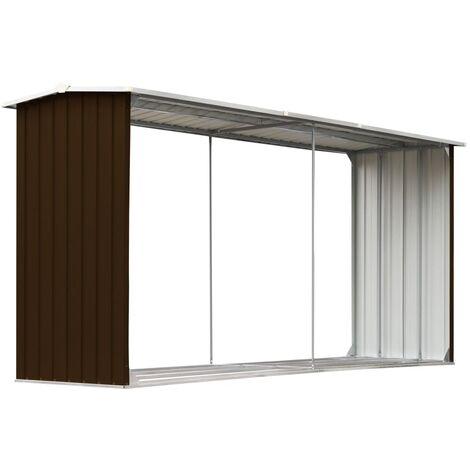 Abri de stockage de bois Acier galvanisé 330x92x153 cm Marron