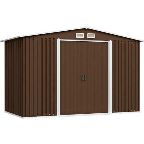 Abri de stockage pour jardin Marron 257x205x178 cm Acier