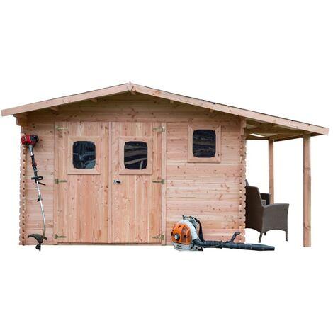 Abri DOMMAR Douglas madriers 28 mm avec bûcher sans plancher 19,65 m²