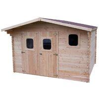 Abri DOMMAR Douglas madriers 28 mm sans plancher toit double pente 14,07 m²