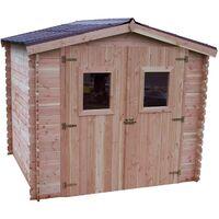 Abri DUBLIN Douglas madriers 28 mm sans plancher toit double pente 5,32 m²