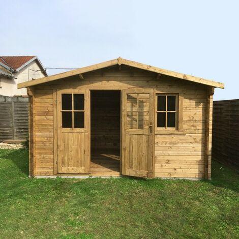 Abri en bois massif 12m² PLUS 28mm traité teinté marron Gardy Shelter
