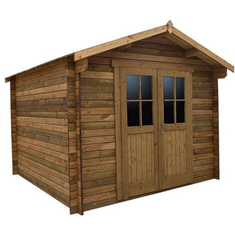 Abri en bois massif 9m² PLUS 28mm traité teinté marron Gardy Shelter