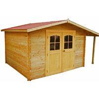 Abri en madriers massifs 28 mm - 7,86 m² / Avec bûcher