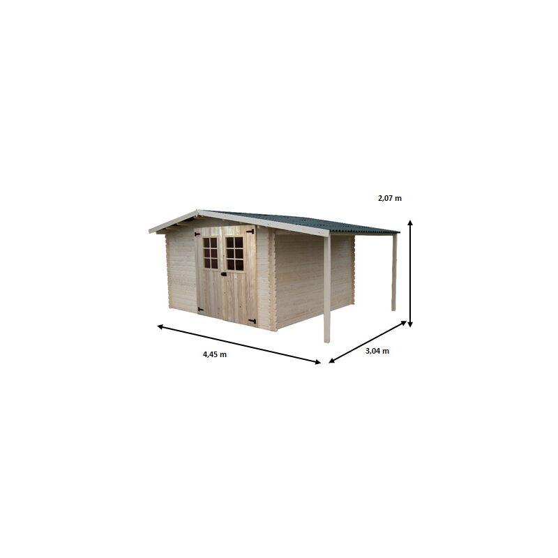 Abri en madriers massifs - 8,70+3,00 m²
