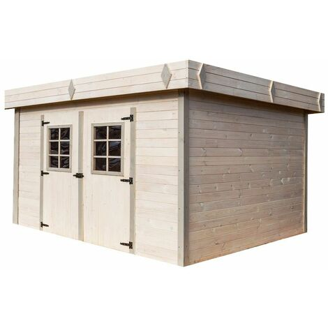 Abri en madriers massifs - Toit plat - 13,47 m²