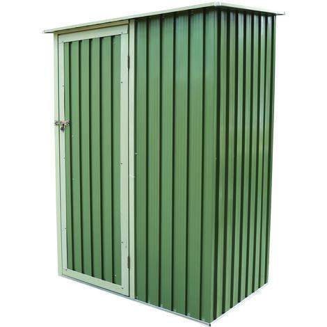 Abri en métal - toit en pente/porte - vert - L 143 x l 89 cm