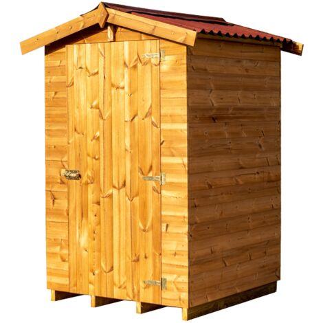 Abri en panneaux de bois massif traité 19 mm - S.u. 1,35 m² - Toit double pente