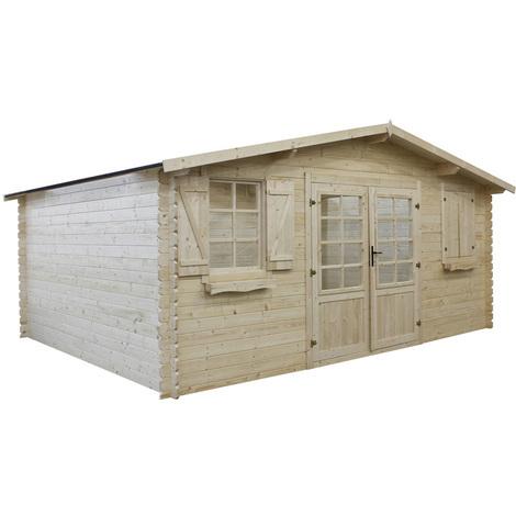 Abri jardin bois traité autoclave - 22.34 m² - 5.26 x 4.32 x 2.34 m - 28 mm