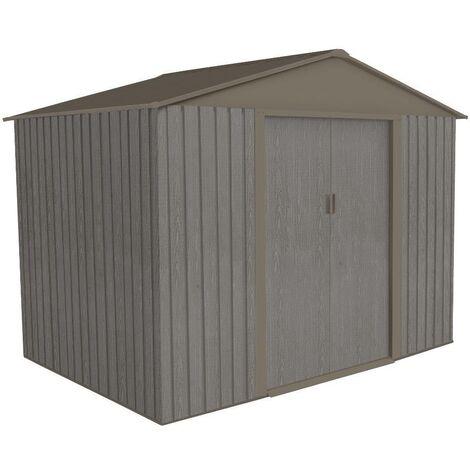 Abri jardin métal - Aspect BOIS VIEILLI 86 - 4,72 M²- GRIS