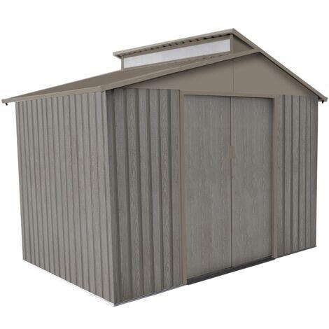 Abri jardin métal - Aspect BOIS VIEILLI 9363 - 5,44 M²- GRIS