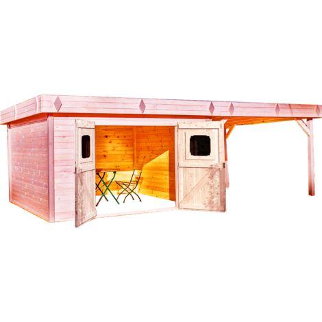 Abri madriers 28 mm avec terrasse fabriqué en douglas massif - S.h.t. : 29,04 m2 - Toit plat couverture bac acier