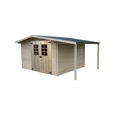 Abri Madriers bois massif avec Bûcher , 28 mm , surface extérieure : 13,52 m2 , toiture plaques ondulées