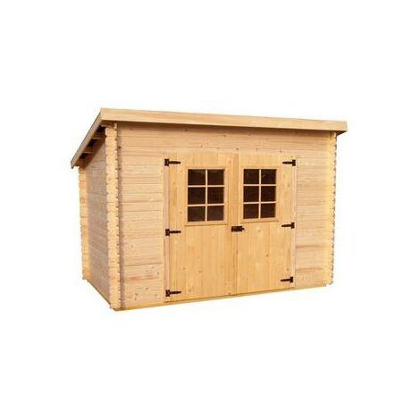 Abri Madriers bois massif avec grande façade 3 m toit 1 pente , 20 mm , surface extérieure : 6,05 m2 , toiture plaques ondulées