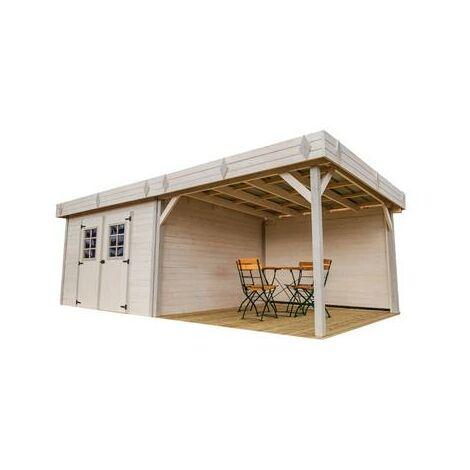 Abri Madriers bois massif avec terrasse couverte toit plat avec bac acier montage possible de la porte sur les 4 côtés , 28 mm , surface extérieure : 20,64 m2 , toiture mono pente en tôle bac acier