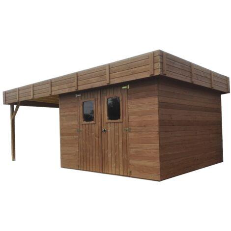 Abri madriers connexion angulaire avec bûcher - surface extérieure : 20,53 m2