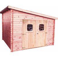 Abri madriers en douglas massif toit mono pente - 9,86 m2