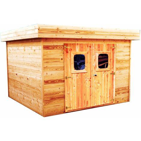 Abri madriers en douglas massif toit plat - 11,36 m2