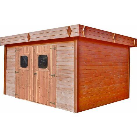Abri madriers en douglas massif toit plat - 16,77 m2