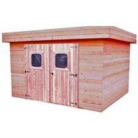 Abri madriers en douglas massif toit plat - 7,97 m2