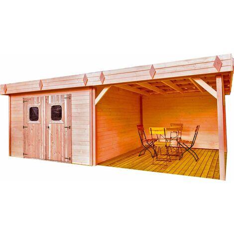 Abri madriers en douglas massif toit plat - 8,47 m2
