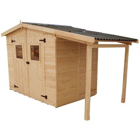 Abri Panneau bois massif avec plancher et bûcher , 16 mm , surface extérieure 5,04 m2 surface extérieure bûcher : 2,08 m 2 , toiture plaques ondulées