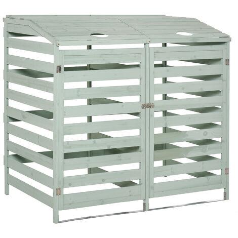 """main image of """"Abri poubelles - abri de jardin - 2 portes verrouillables - dim. 131L x 85l x 125H cm - bois sapin vert d'eau"""""""