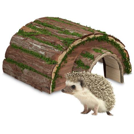 Abri pour hérisson, bois & mousse, hibernation hérissons, jardin, résistant intempéries, 20x40x42 cm, nature