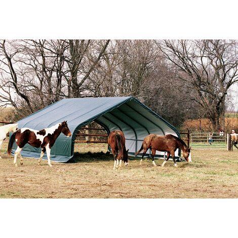 Abri souple pour pâturage 40.87 m2 Tente pour Chevaux Vert L 670 cm, l 610 cm, h 320 cm