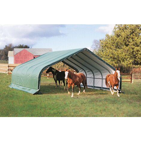 Abri souple pour pâturage 48.90 m2 Tente Verte pour Chevaux L 670 cm, l 730 cm, h 380 cm