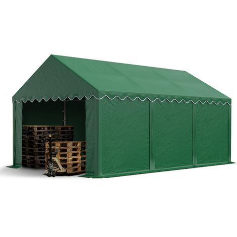 Abri / Tente de stockage ECONOMY - 3 x 6 m en vert fonce - toile PVC 500 g/m² imperméable / protection contre les rayons UV (80+) / structure robuste en acier galvanisé