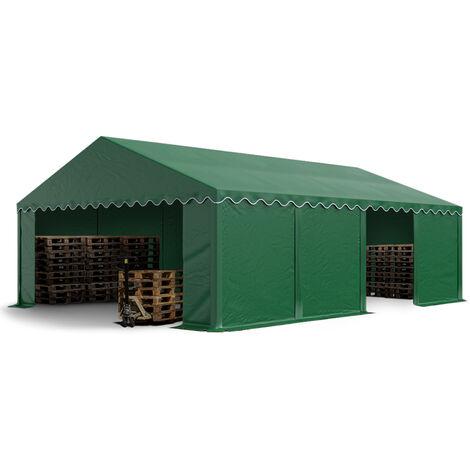 Abri / Tente de stockage ECONOMY - 5 x 8 m en vert fonce - toile PVC 500 g/m² imperméable / protection contre les rayons UV (80+) / structure robuste en acier galvanisé