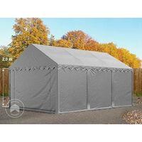 Abri Tente De Stockage Premium 3 X 6 M En Gris Avec Cadre De Sol Et Renforts De Toit Bâches En Pvc Haute Densité 500 Gm² 100 Imperméable