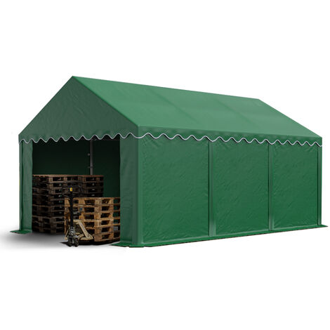 Abri / Tente de stockage PREMIUM - 3 x 6 m en vert fonce - avec cadre de sol et renforts de toit, bâches en PVC haute densité 500 g/m² 100% imperméable, armature en acier galvanisé (antirouille), fixage par boulonnage