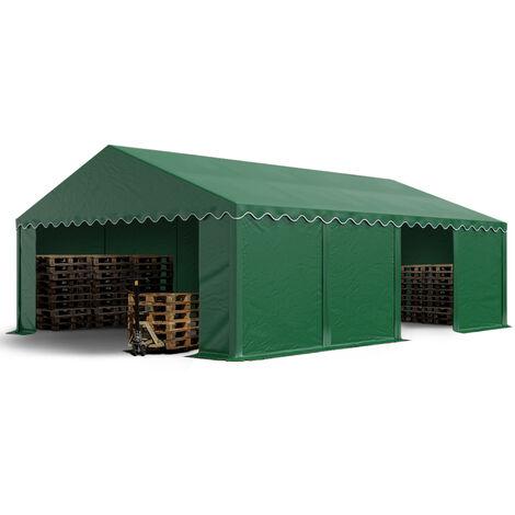 Abri / Tente de stockage PREMIUM - 5 x 8 m en vert fonce - avec cadre de sol et renforts de toit, bâches en PVC haute densité 500 g/m² 100% imperméable, armature en acier galvanisé (antirouille), fixage par boulonnage