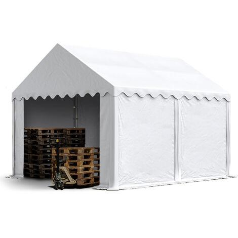 Abri / Tente de stockage PREMIUM INTENT24 - 4 x 4 m en blanc - avec cadre de sol et renforts de toit, bâches en PVC haute densité env. 500g/m² 100% imperméable, armature en acier galvanisé (antirouille), fixage par boulonnage