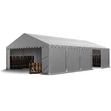 Abri / Tente de stockage PREMIUM INTENT24 - 5 x 10 m en gris - avec cadre de sol et renforts de toit, bâches en PVC haute densité env. 500g/m² 100% imperméable, armature en acier galvanisé (antirouille), fixage par boulonnage