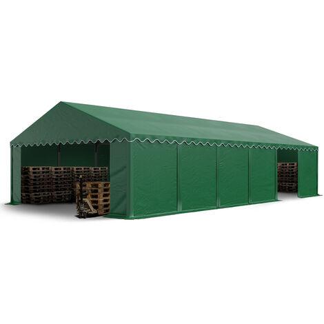 Abri / Tente de stockage PREMIUM INTENT24 - 6 x 12 m en vert fonce - avec cadre de sol et renforts de toit, bâches en PVC haute densité env. 500g/m² 100% imperméable, armature en acier galvanisé (antirouille), fixage par boulonnage