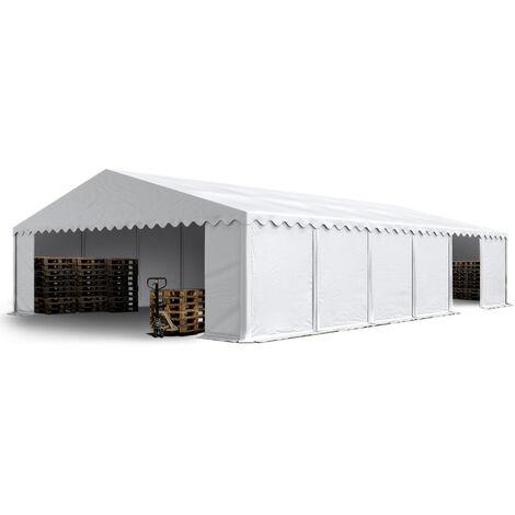 Abri / Tente de stockage PREMIUM INTENT24 - 8 x 12 m en blanc - avec cadre de sol et renforts de toit, bâches en PVC haute densité env. 500g/m² 100% imperméable, armature en acier galvanisé (antirouille), fixage par boulonnage