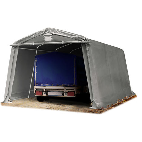 Abri/Tente garage PREMIUM 3,3 x 4,8 m pour voiture et bateau - toile PVC env. 500g/m² imperméable gris