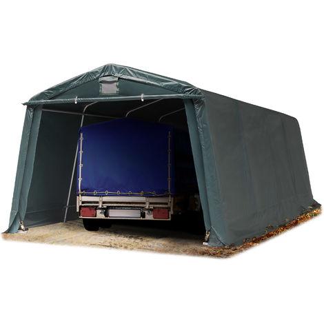 Abri/Tente garage PREMIUM 3,3 x 6,2 m pour voiture et bateau - toile PVC env. 500g/m² imperméable vert fonce