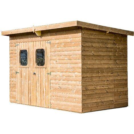Abri THEORA en bois sans plancher, toit mono pente bac acier 7,33 m²