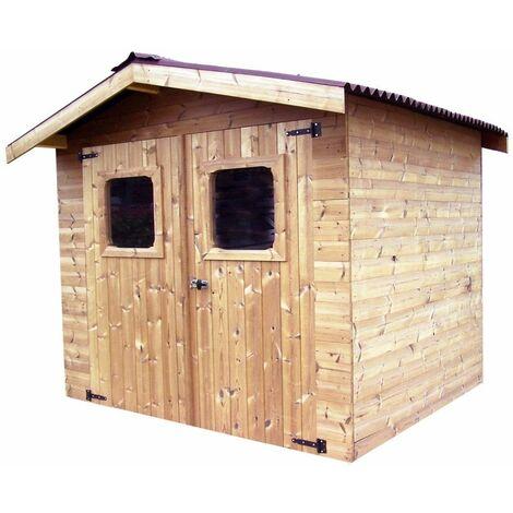 Abri THERMA en bois massif - 7,05 m² - sans plancher - toit double pente