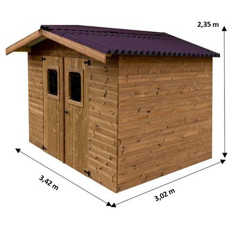 Abri THERMA en bois massif sans plancher, toit double pente 10,33 m²
