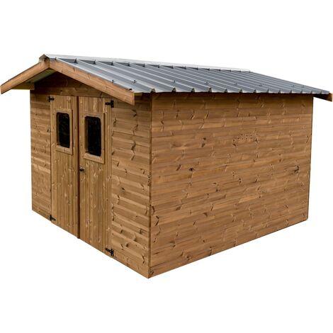 Abri THERMABRI madriers - 11,97 m² sans plancher - toit double pente bac acier