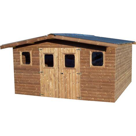 Abri THERMABRI madriers - 15,14 m² sans plancher - toit double pente bac acier