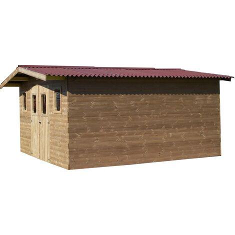 Abri THERMABRI madriers sans plancher, toit double pente 23,82 m²